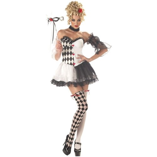 Sexy Harlequin Clown Costumes (California Costumes Women's Le Belle Harlequin Costume, Black/White, Small)