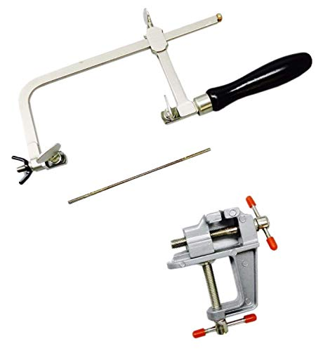 JEWELERS SAW FRAME & 12 BLADES & MINI BENCH VISE WITH CLAMP JEWELRY MAKING TOOLS (E11) NOVEL TOOLS