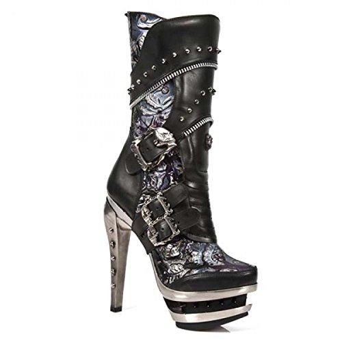 New Rock Laarzen M.rock203-c1 Gothic Hardrock Punk Damen Stiefel Schwarz