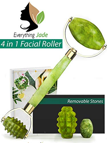Jade Roller for Face Massager with Interchangeable Jade | 100% Natural Jade Facial Roller Anti Aging Therapy | Clears Toxins & Reduces Puffiness | Customize Your Jade Face Roller Today.