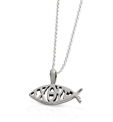 (Christian Gifts - Sterling Silver Fish and Ixoye Pendant and Chain - Confirmation Gifts)
