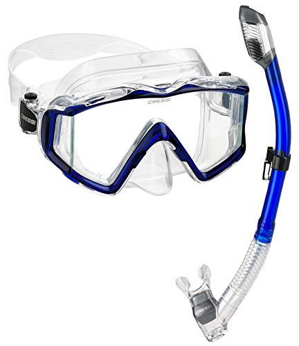 Cressi Panoramic Wide View Mask Dry Snorkel Set, Blue