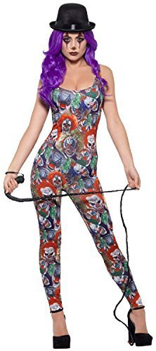 Ladies Sexy Crazy Psycho Clown Circus Halloween Horror Scary Fancy Dress Costume Outfit (UK 4-6 (EU 32/34)) ()