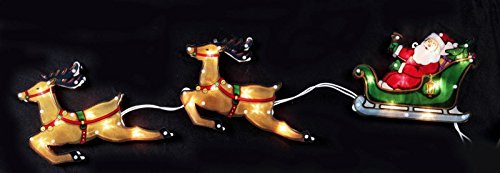 Glittered Christmas Lighted Up Window Decoration-20 Lights Double Side Lighted Glimmer Glow Frame Sculpture 33.5