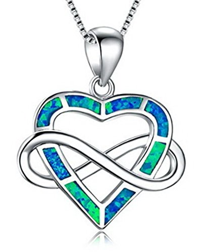 Fortonatori Created Blue Opal Necklace Heart Cross Faithful 925 Silver Pendant Necklace 18'' Chain by Fortonatori