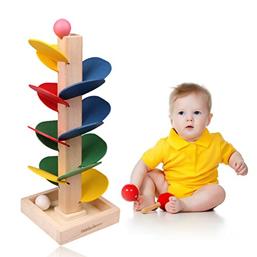 Wooden Tree Blocks, Rainbow Marble Ball Run Track Game Intelligence Educational Toy for Kids