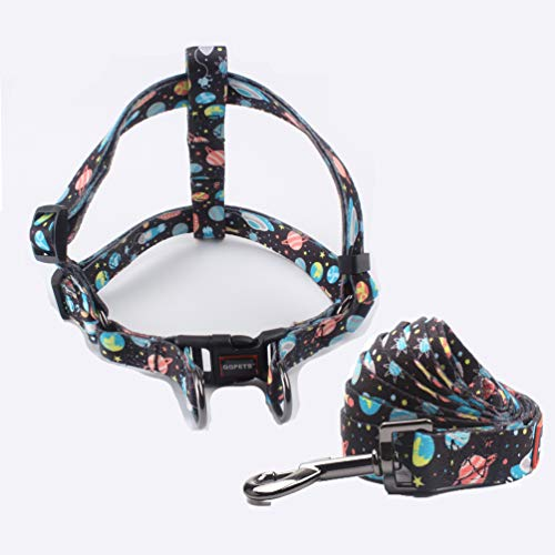 """QQPETS Adorable Escape Proof Dog Harness and Leash Set No-Pull Dog Harness for Medium Puppy Breed Adjustable Chest:19-26"""" Beautiful Space Print Strong Nylon"""