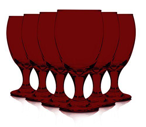Libbey 6 Piece Goblet Party Glass, 16.25-Ounce Full Color Red Additional Vibrant Colors Available by TableTop King ()