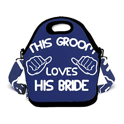 POP MKYTH This Groom Loves His Bride Large Reusable Insulated Lunch Tote Bag for Office School Picnic Travel Camping, Lunch Box Handbag with Zip Closure and 3D Shoulder Strap -