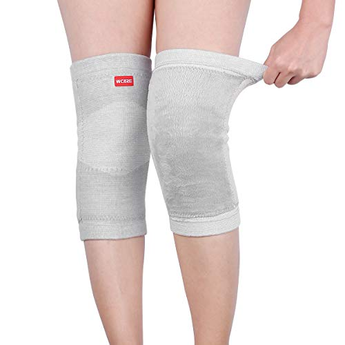 WCARE Bamboo Charcoal Cashmere Warm Metal Spring Fitness Knee Pad Unisex Cashmere Knee Brace Pads Winter Warm Thermal Knee Pad 1 Pair (Gray) ()