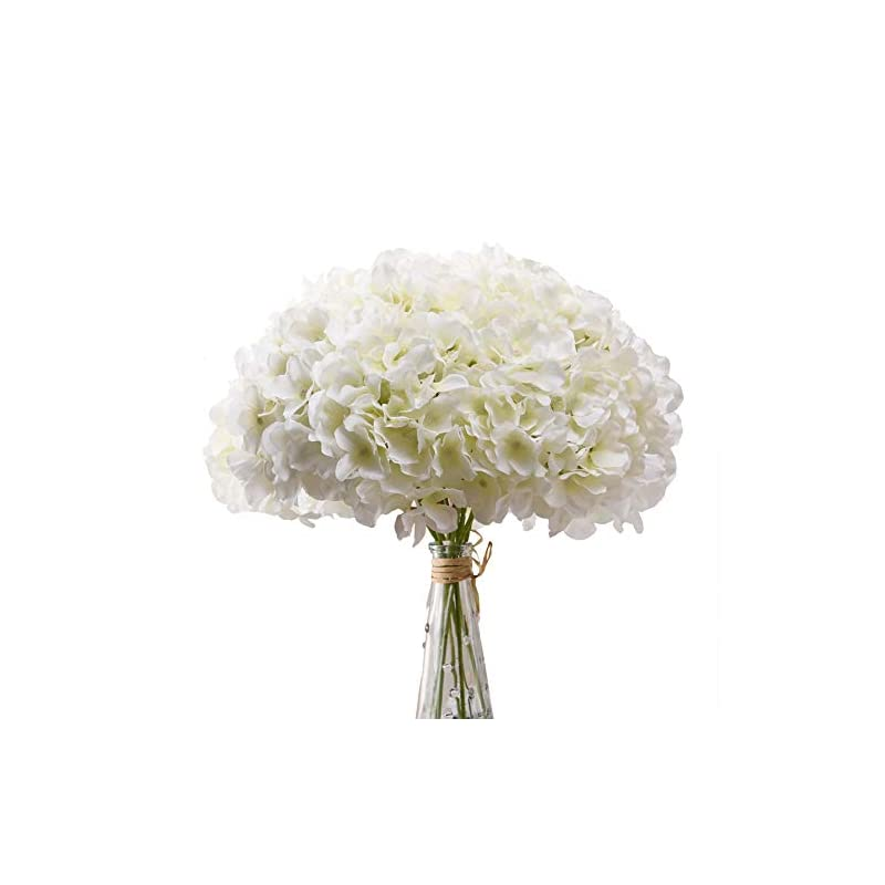 silk flower arrangements aviviho white hydrangea silk flowers heads pack of 10 ivory white full hydrangea flowers artificial with stems for wedding home party shop baby shower decoration