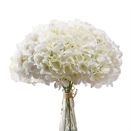 Aviviho White Hydrangea Silk Flowers Heads Pack of 10 Ivory White Full Hydrangea Flowers Artificial with Stems for Wedding Home Party Shop Baby Shower Decoration