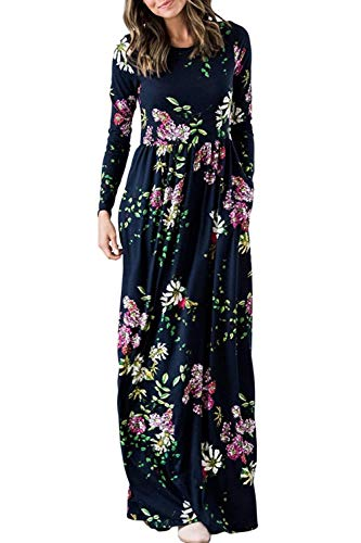 Zattcas Womens Long Sleeve Maxi Dress Floral Print Casual Long Dresses with Pockets,Navy Multi,X-Large