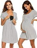Ekouaer Maternity Nursing Gown for Hospital Breastfeeding Nightgown Sleepwear (Grey, Medium)
