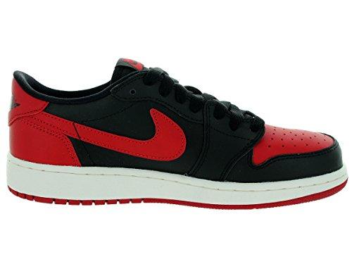 Jordan Nike Kinder Air 1 Retro Low OG BG Basketballschuh Schwarz / Varsity Rot-Segel