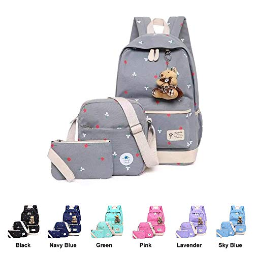 School 11 Cotton Kids Canvas Shoulder Grey Boys Black Girls for Daypack Casual Bag Backpack Atq41taw
