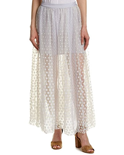 (Free People Womens Polka Dot Lace Trim Maxi Skirt Light Grey-Gray Size 6)