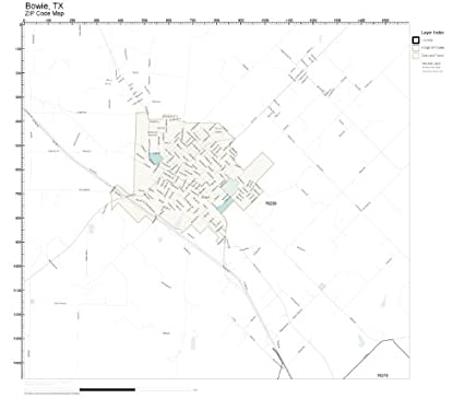 Amazon.com: ZIP Code Wall Map of Bowie, TX ZIP Code Map Laminated