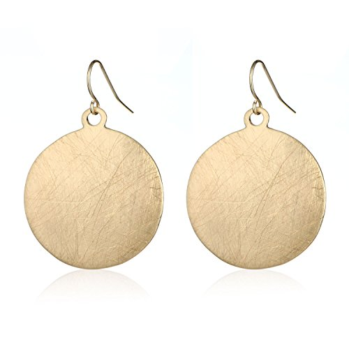HONGYE Brushed Gold Silver Rose Gold Colored Round Disc Shaped Drop Earring Hook Earring