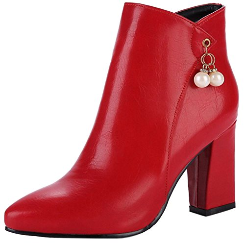 Tacco Scarpe Blocco Moda RAZAMAZA Stivali Con Partito Donna Zipper Red Eqw5Y65