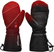 Heated Ski Gloves,7.4V 2200MAH Electric Rechargeable Battery Gloves for Men Women,Cold Weather Heating Gloves