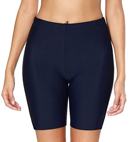 (ATTRACO Women's Basic High Waisted Boy Short Swim Bikini Tankini Bottom with Brief)