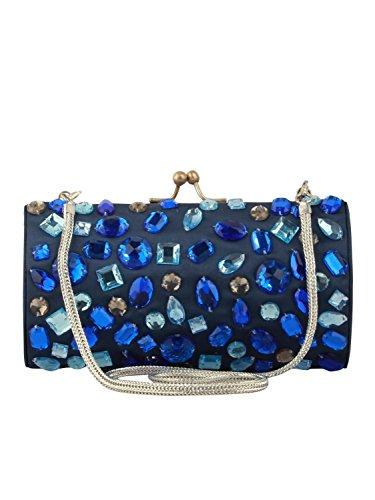 MyBatua Rachel Handtasche verschönert mit Multi-geformte Steine blaue Tasche ACP-342