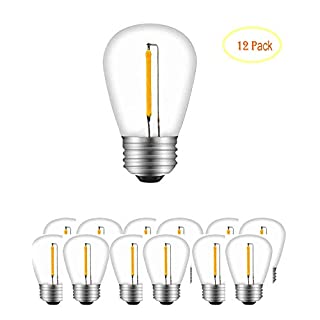 LED S14 Bulbs, Transparancy, Replacement Bulbs for String Lights, 0.5W,E26 Screw Base, Outdoor, Waterproof, Nondimmable, Party Wedding Halloween (2200K-12Pack)
