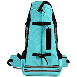 OMEM Pet Carrier Backpack,Enjoy The Scenery on The Way with Your Pet,Don't be Trapped in The Backpack,with Reflective Strips and Outdoor Life-Saving Whistle (M, Blue)