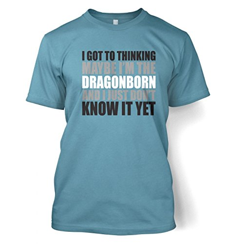 Thinking I'm The Dragonborn Herren t-shirt (Small (34/36)/Stone Blau )
