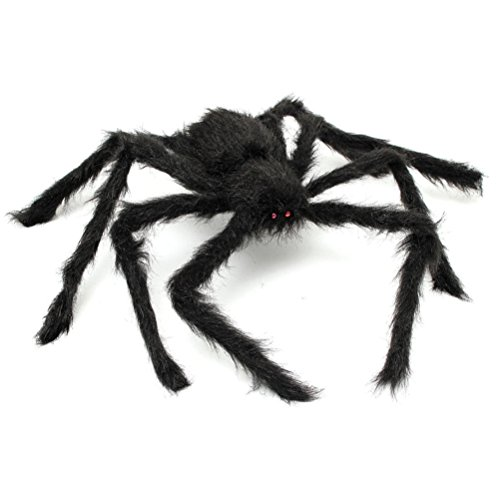Homeditor Giant Black Spider Halloween Spider and Plush Scary Spider Toys for Kids Halloween Party Decorations or Haunted House Decor(1 Pack) (20 inches)