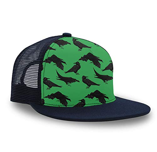Unisex Hip Hop Cap - Crows Ravens Green- Adjustable Mesh Baseball Hats Mens Snapback Hat Sun Hats for Outdoor Sports,1 Pack ()