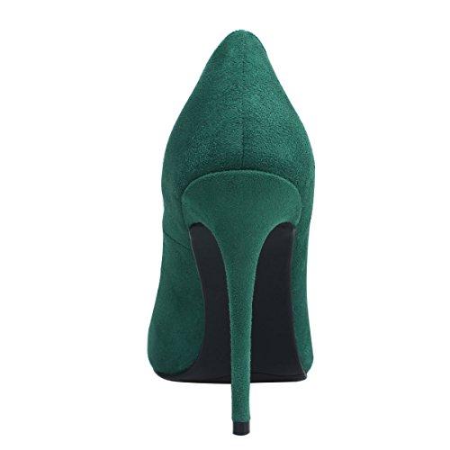 tacón Bombas de boda de mujer aguja Zapatos de Zapatos tacón B para punta de Verde mujer alto con ZAPROMA de 1qfxwTP1