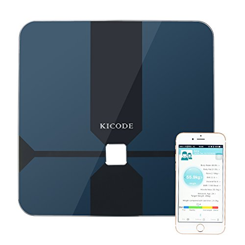 Kicode Smart Scale Body Fat Monitor Bluetooth 4.0 iWellness APP 10 Precision Body Composition Measurements Smartphone App for Healthy Weight,Update to Phone