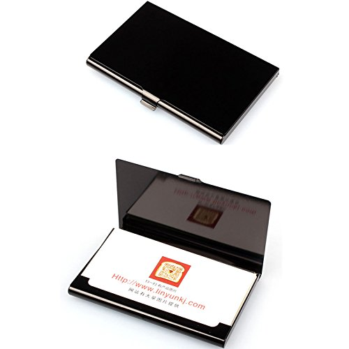 Aluminum Business Card Holder Metal Box Cover Credit Card Business Card Wallet Holder - 9.3 x 5.7 x 0.7cm (Black) namivad
