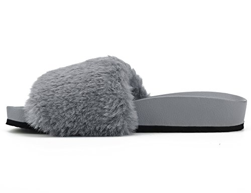 Womens Ladies Fur Slider Gray Sandals Shoes Faux Mules Flat Slipper Muxun Max Ew5qnfTxOn