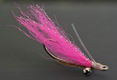 Bonefish Hook - Crazy Charlie Bonefish Fly Fishing Flies - Pink - Mustad Signature Duratin Fly Hooks - 6 Pack (Hook #6)