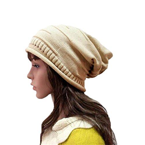 Century Star Women Trendy Warm Oversized Thermal Knit Slouchy Daily Beanie Beige