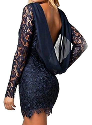 Women Fashion Bodycon Hot Lace Party Open Prom Dress Sexy Blue Navy Back Cromoncent 1qTa1w