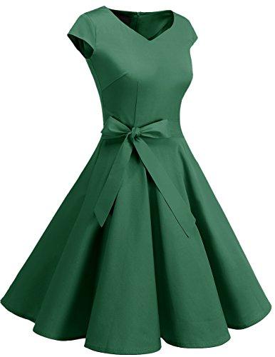 Dresstells Corto Años Cóctel De 50 Retro Vestido Vintage Green Mujer TOOqUv