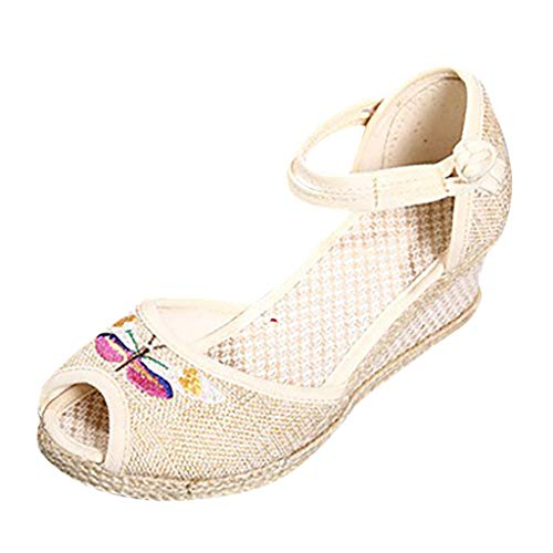 Women Wedge Sandals Round Toe Linen Canvas Retro Embroidered Flower Buckle Singles Shoes Beige