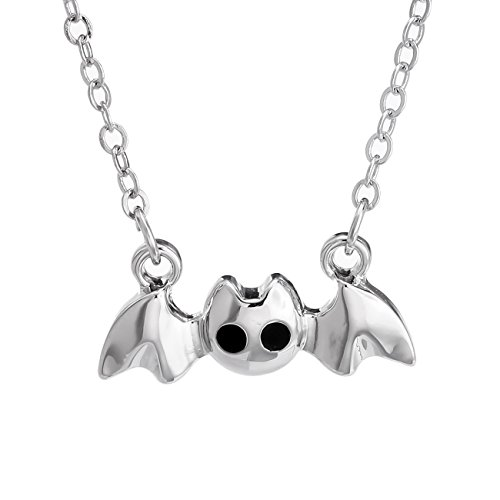 PANGRUI Silver Tiny Vampire Goth Bat Necklace Necklace (Silver)