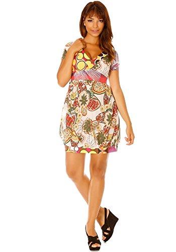 dmarkevous - Robe large effet ballon à motif fleurs, liens au dos - L, rose