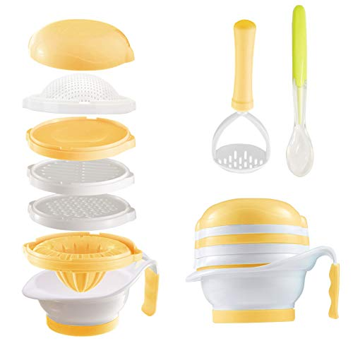 Matyz All in 1 Baby Food Maker Set - Toddler Mash Bowl with Hand Masher, Citrus Juicer, Grater - Making Homemade Baby Food - Fruits and Vegetables Masher - BPA Free - Baby Shower Gift (Yellow)
