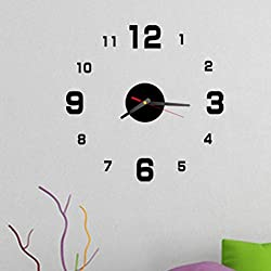 certainPL Modern DIY Wall Clock Removable Acrylic 3D Mirror Wall Sticker Decorative Clock (Black)