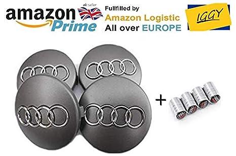 IGGY 4 tapacubos fregi Audi 68 mm A3 A4 A6 S4 RS3 S Tachuelas Tapas Llantas de aleación: Amazon.es: Coche y moto