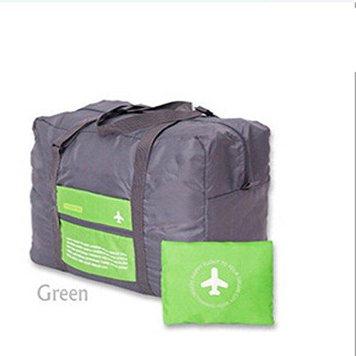 La nueva manera impermeable del deporte del recorrido del bolso de la capacidad grande del bolso de tela Oxford que dobla el bolso unisex equipaje de viaje bolsos, Rojo Green