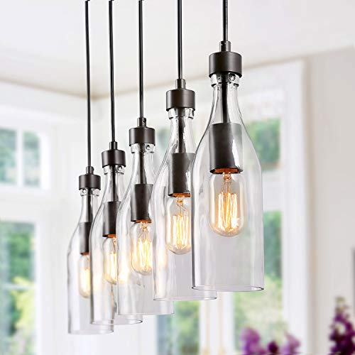 LNC Pendant Lighting for Kitchen Island Wood Farmhouse Chandeliers Glass Bottle Shade, A02982