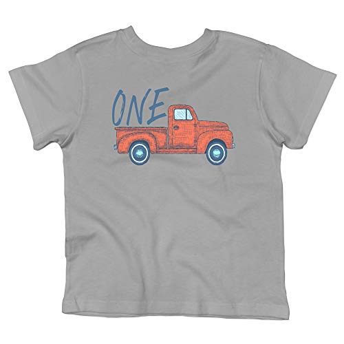 (Red and Blue Vintage Truck One 1st Birthday Outfit for Boys Gray Short Sleeve Shirt)