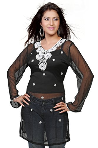 Jayayamala Übergröße Kleid, kurzes schwarzes Kleid, schwarze Tunika-Kleid, schwarz Sommerkleid, volle Hülse Kleid